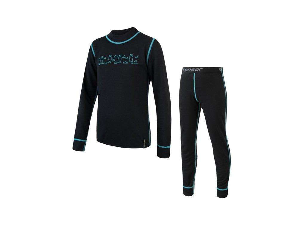 Kvalitní dětské teplé a příjemné funkční prádlo Sensor Double Face set Bears v černé barvě