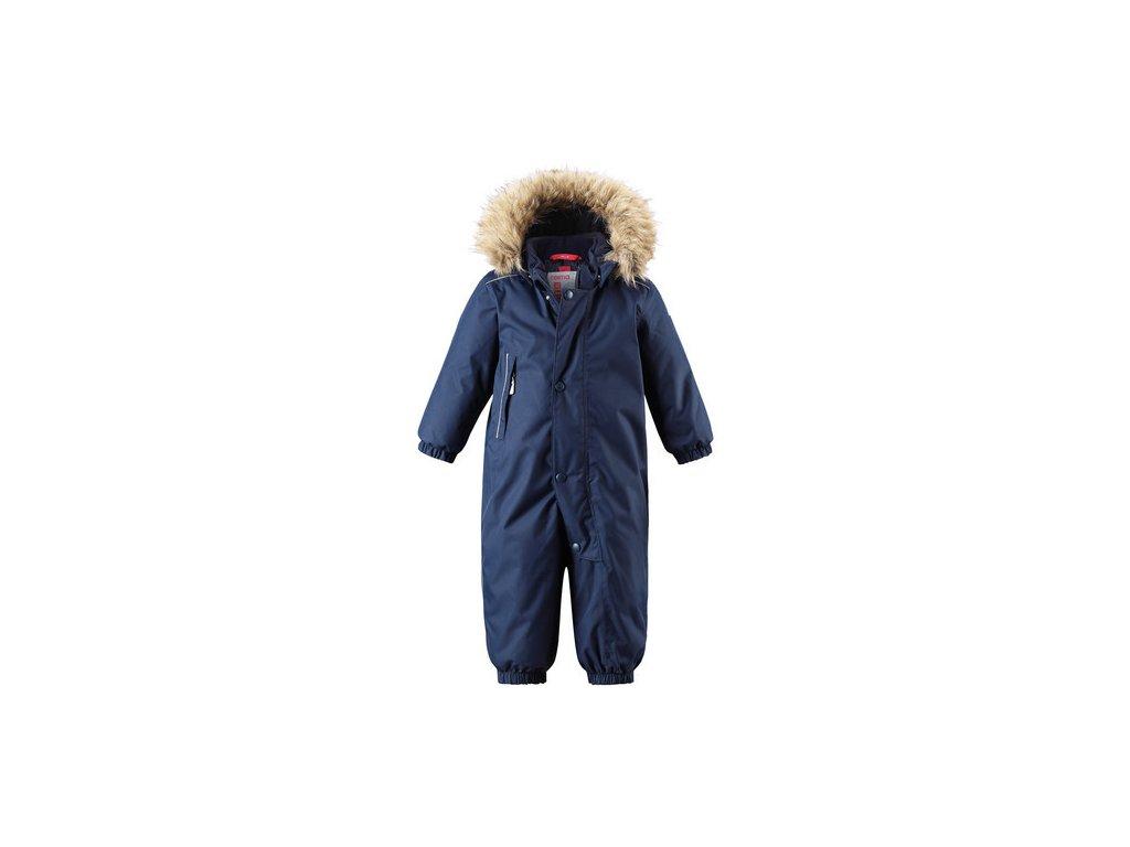 Kvalitní dětský zimní membránový overal s odnímatelnou kapucí a reflexními prvky Reima Gotland navy v modré barvě