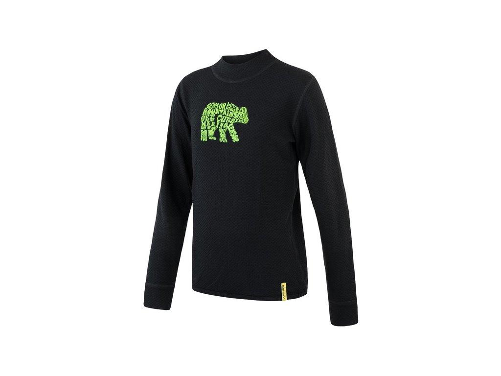 Kvalitní dětské teplé a příjemné funkční prádlo Sensor merino DF Bear v černé barvě