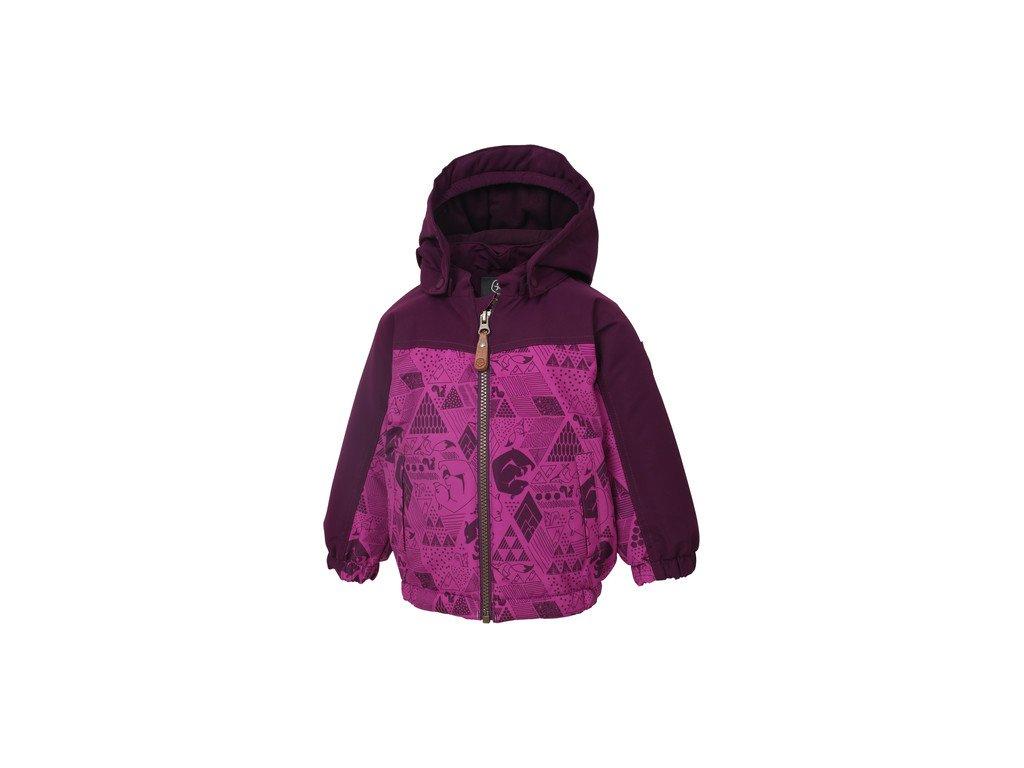 Kvalitní dětská zimní zateplená bunda s odnímatelnou kapucí a reflexními prvky Color Kids Dion berry ve vínové barvě