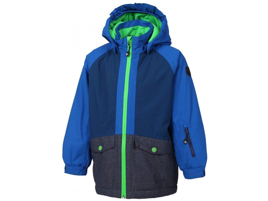 Kvalitní dětská zimní zateplená membránová lyžařská bunda s odnímatelnou kapucí a reflexními prvky Color Kids Dude blue sea v modré barvě