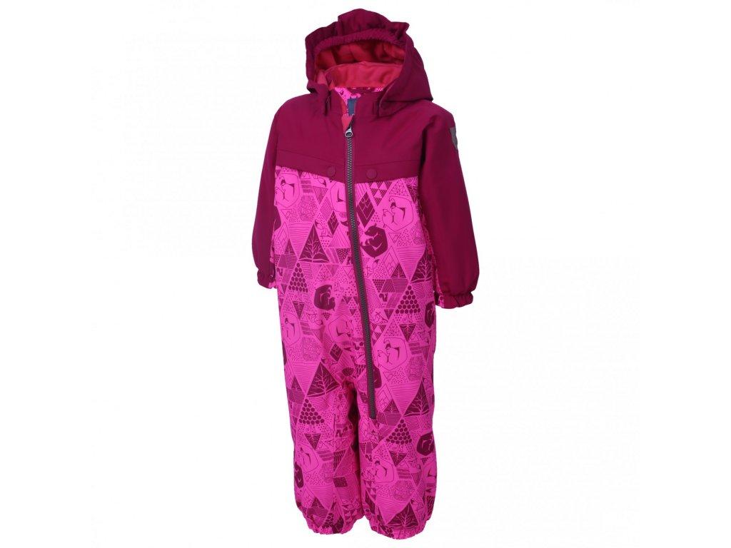 Kvalitní dětský zimní overal s odnímatelnou kapucí a reflexními prvky Color Kids Dolpa candy pink v růžové barvě
