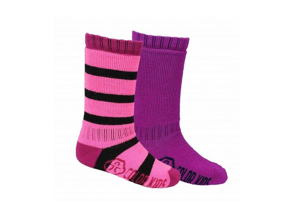 Kvalitní dětské vlněné lyžařské ponožky Color Kids Dustin candy pink v růžové  barvě 3bb7f56b73