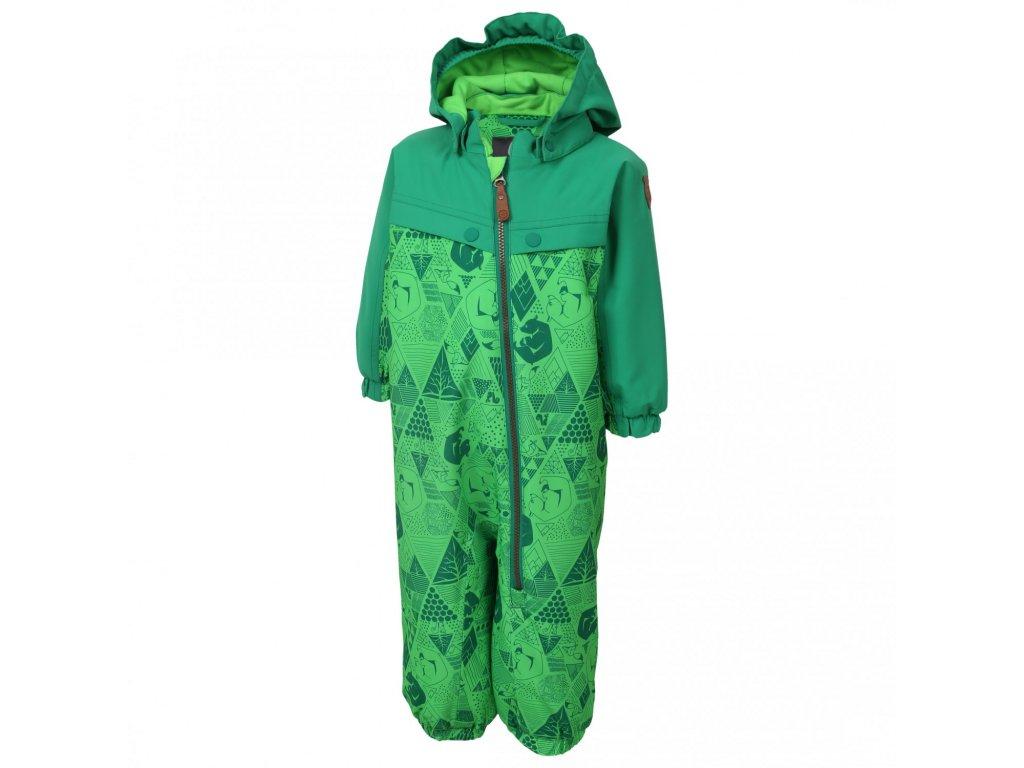 Kvalitní dětský zimní overal s odnímatelnou kapucí a reflexními prvky Color Kids Dolpa toucan green v zelené barvě