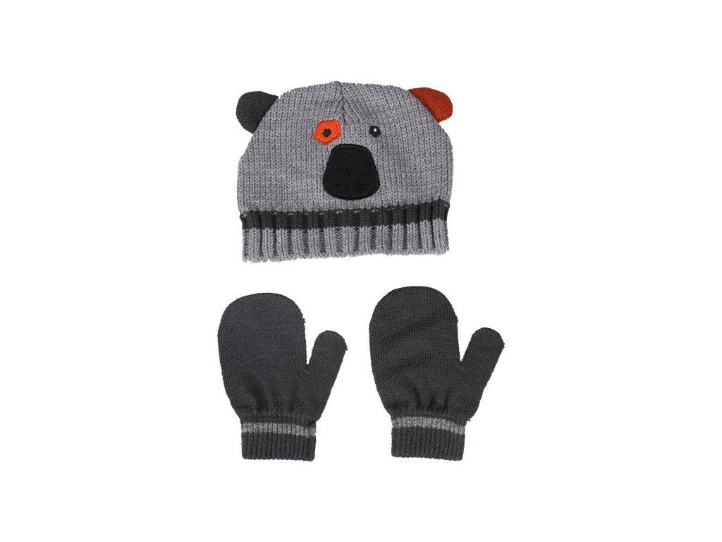 Kvalitní dětský set čepice a rukavic Color Kids Dimy melange grey v šedé barvě