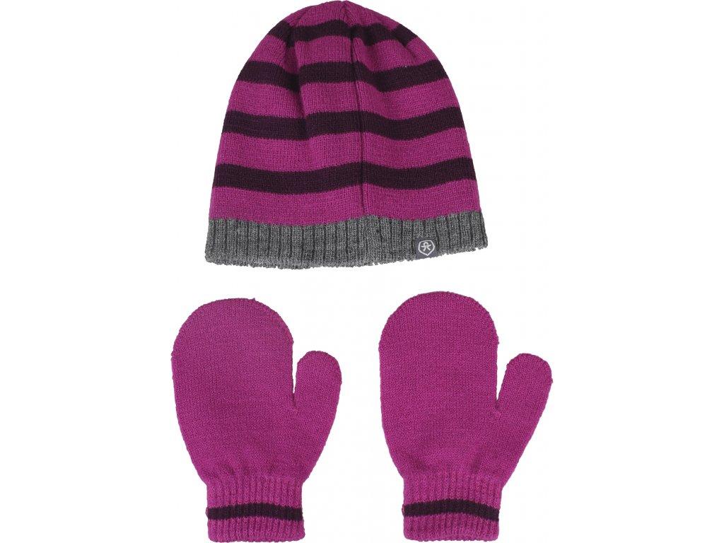 Kvalitní dětský set čepice a rukavic Color Kids Daru candy pink v růžové barvě
