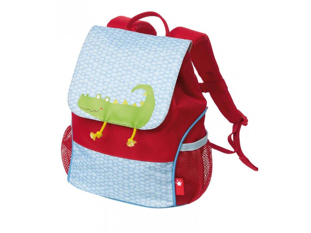 Kvalitní nylonový, komfortní a propracovaný dětský batoh pro předškoláky Mini batoh Sigikid Krokodýl v červené barvě
