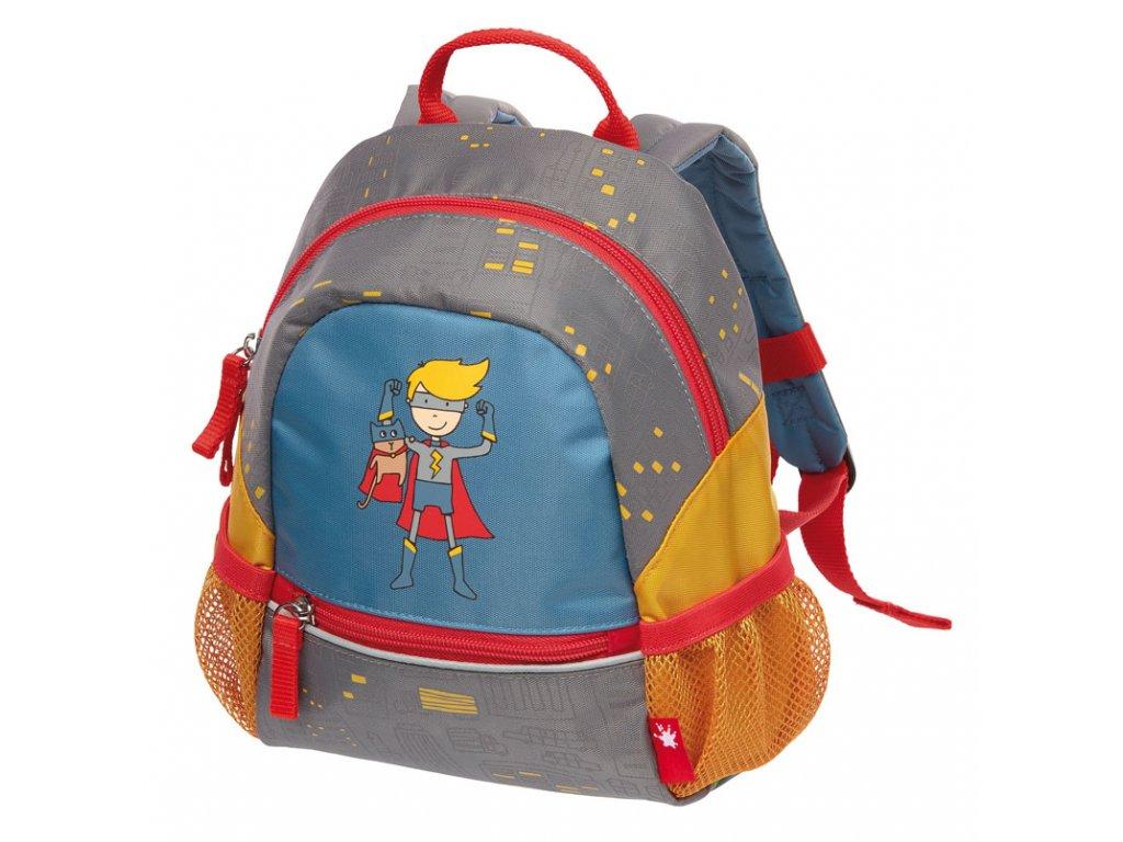 Kvalitní nylonový, komfortní a propracovaný batoh pro předškoláky s motivem superhrdiny Sigikid Brands Superheld v šedo-červené barvě