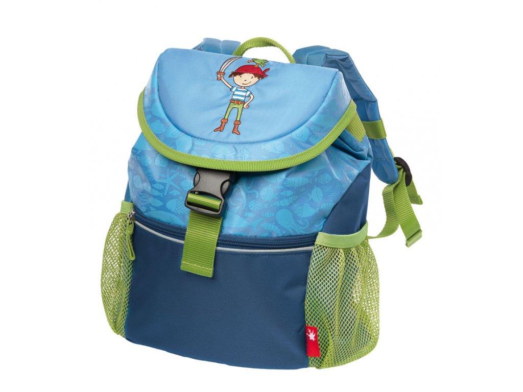 Kvalitní nylonový, komfortní a propracovaný batoh pro předškoláky s motivem piráta Sigikid Brands Sammy Samoa v modré barvě