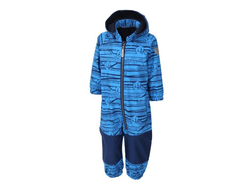 Kvalitní dětský zimní softshellový overal s odnímatelnou kapucí a reflexními prvky Color Kids Kajo french blue v modré barvě