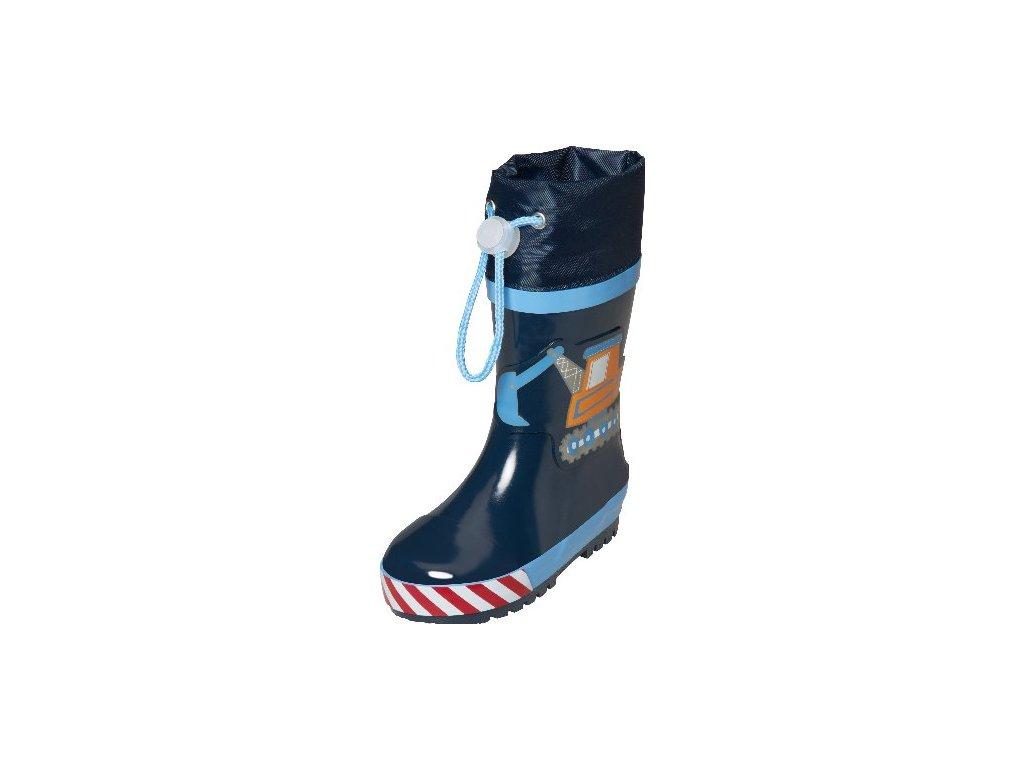 Kvalitní dětské gumáky z přírodního kaučuku se stahovací šňůrou Playshoes s bagrem v tmavě modré barvě