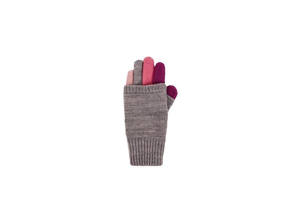 Kvalitní dětské zimní pletené rukavice Maximo v šedo-růžové barvě