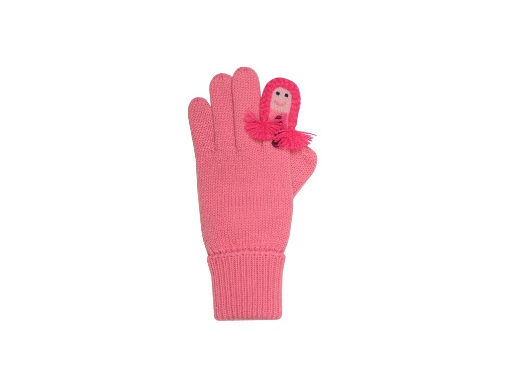 Kvalitní dětské zimní pletené rukavice Maximo v růžové barvě  7aa1862090