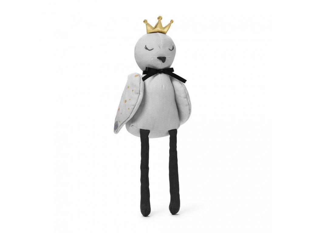 Kvalitní dětská bavlněná látková hračka Ptáček Elodie Details - Feathered Fiona v šedé barvě