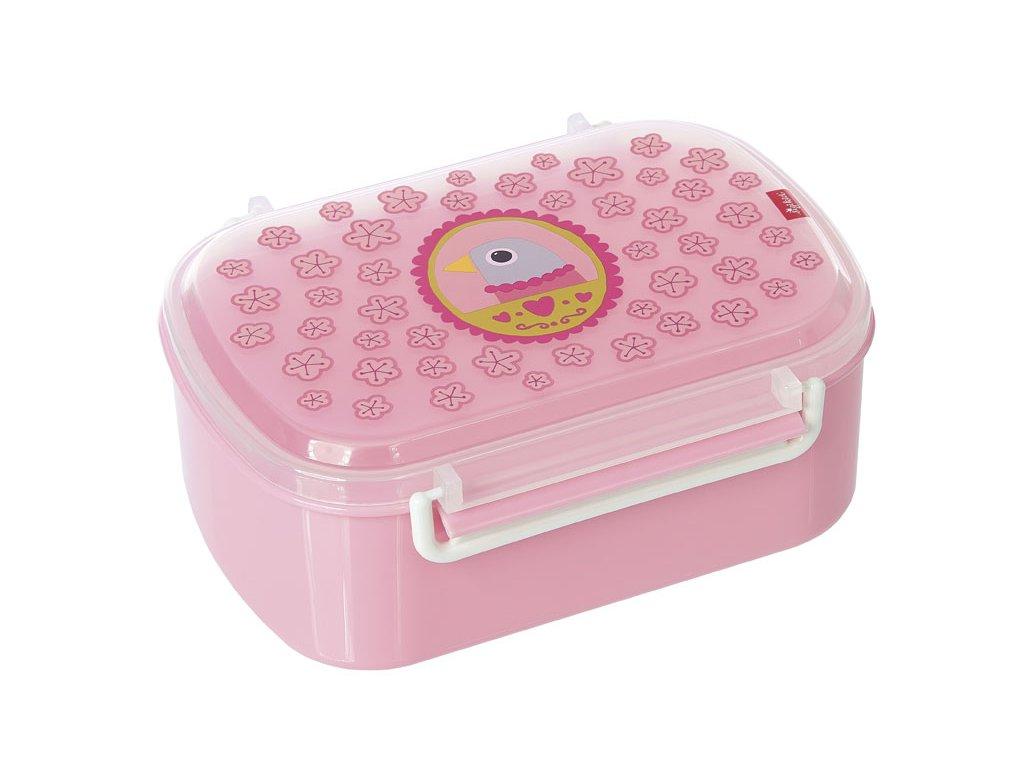 Kvalitní dětská krabička na svačinu s druhou odjímatelnou krabičkou na ovoce Sigikid Finky Pinky v růžové barvě