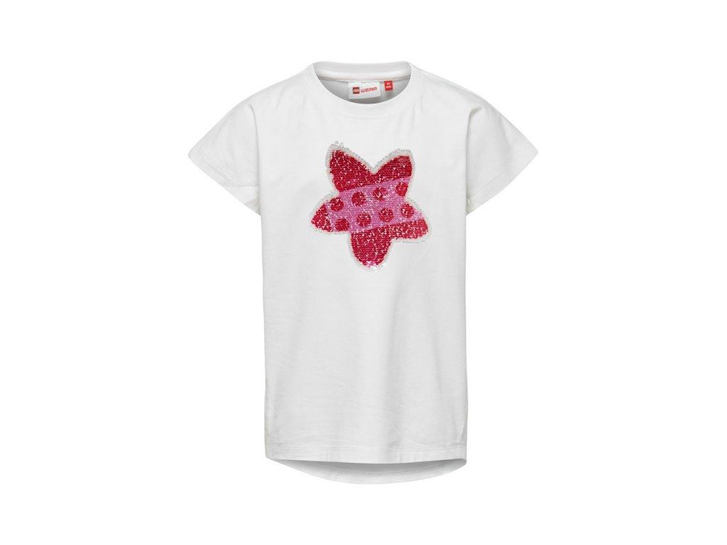 Kvalitní dívčí dětské tričko z měkkého a lehkého materiálu LEGO® Wear Tippi 106 v bílé barvě