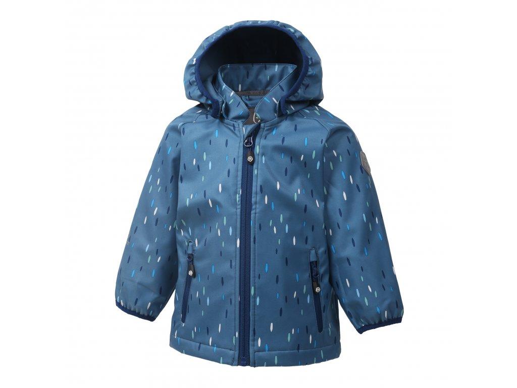 Kvalitní dětská zateplená jarní softshellová bunda s kapucí a reflexními prvky Color Kids Veast Stellar v tmavě modré barvě