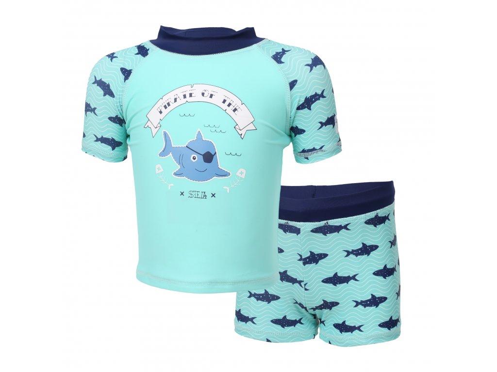 Kvalitní dětský plavecký set s UV filtrem 40+ Color Kids Edy Aqua Sea v tyrkysové barvě