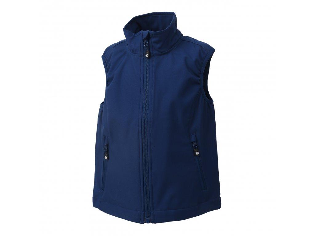 Kvalitní dětská jarní softshellová vesta s membránou a reflexními prvky Color Kids Bajur Estate Blue v modré barvě