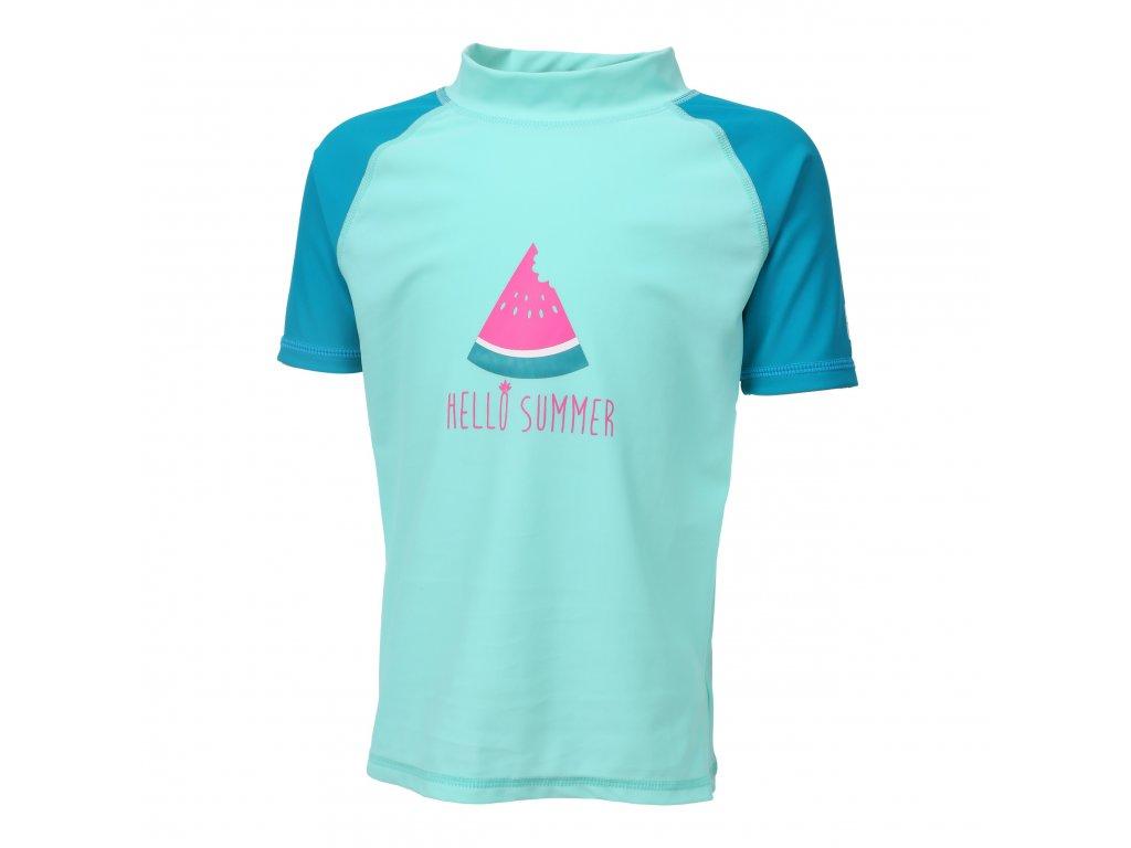 Kvalitní dívčí rychleschnoucí tričko s UV ochranou Color Kids Eline Crystal Teal v tyrkysové barvě