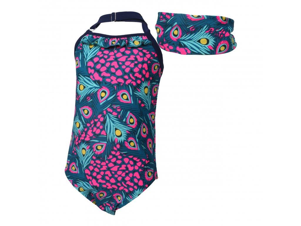 Kvalitní dívčí jednodílné rychleschnoucí plavky s UV ochranou Color Kids Tordis Estate Blue