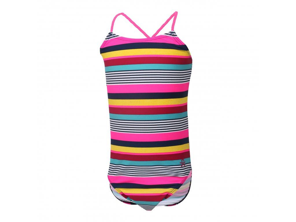 Kvalitní dívčí jednodílné rychleschnoucí plavky s UV ochranou Color Kids Nifli Raspberry