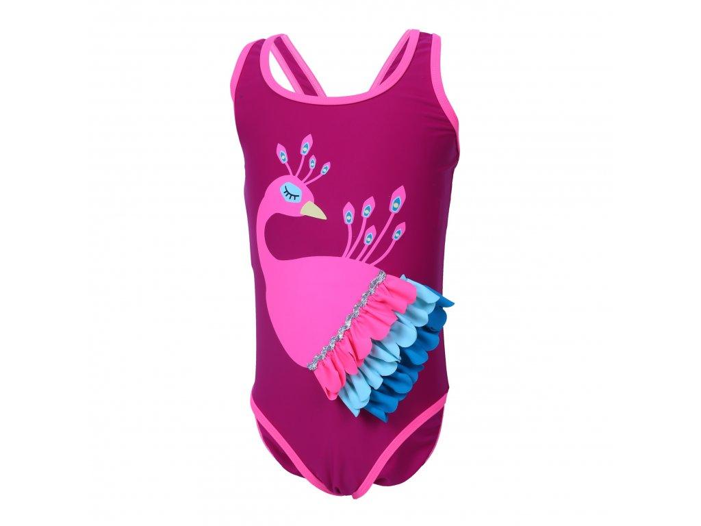Kvalitní dívčí jednodílné rychleschnoucí plavky s UV ochranou Color Kids Elea Raspberry