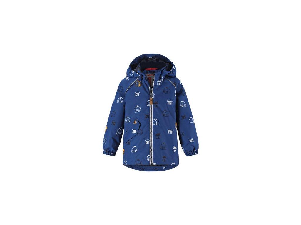 Kvalitní dětská nepromokavá jarní bunda s kapucí a reflexními prvky Reima Tontti Dark denim v modré barvě
