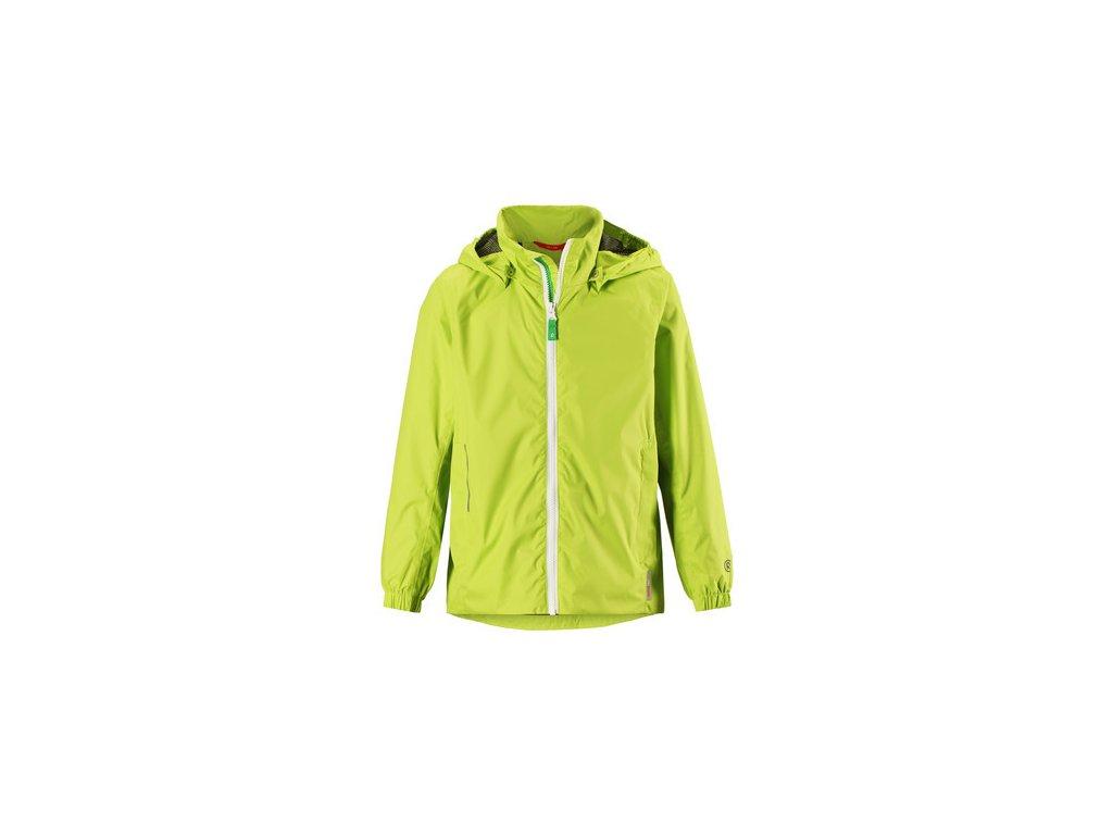 Kvalitní dětská nepromokavá jarní bunda s kapucí a reflexními prvky Reima Svinge Lime ve žluto-zelené barvě