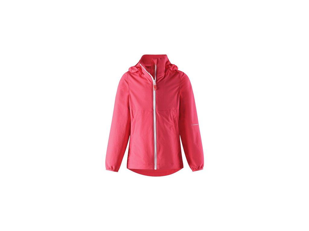 Kvalitní dětská jarní outdoorová bunda s povrchovou úpravou odpuzující komáry, kapucí a reflexními prvky Anti - Mosquito bunda Slusse Neon Red v červené barvě