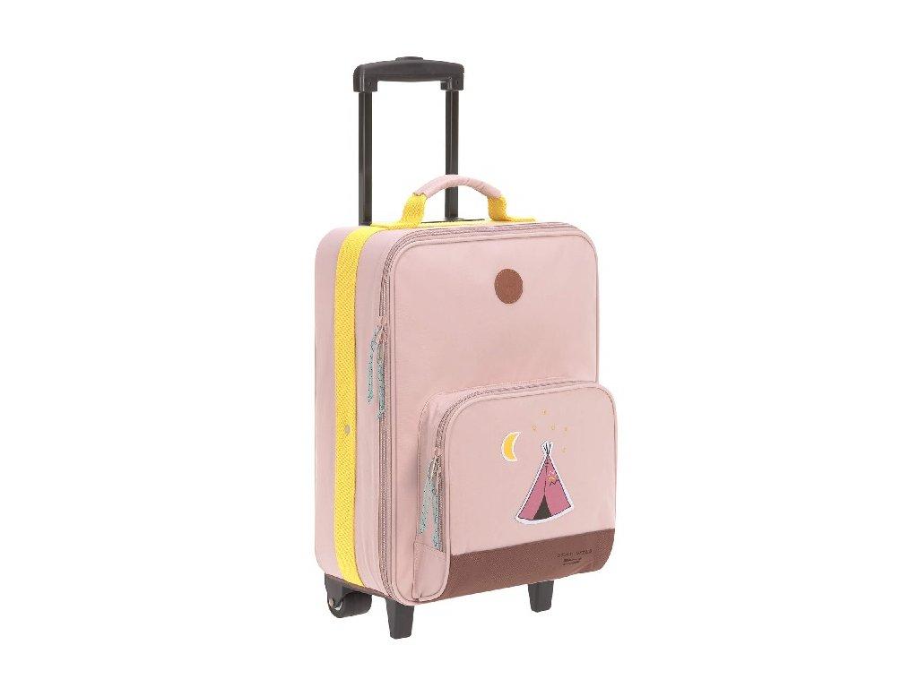 Kvalitní kufřík na kolečkách s vysunovací rukojetí Trolley LÄSSIG Adventure Tipi v broskvové barvě