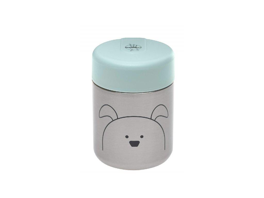 Kvalitní dětská termonádoba na jídlo 315 ml z nerezové oceli LÄSSIG Little Chums Dog v šedo-tyrkysové barvě