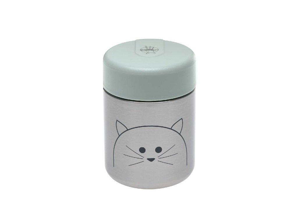Kvalitní dětská termonádoba na jídlo 315 ml z nerezové oceli LÄSSIG Little Chums Cat v šedo-olivové barvě