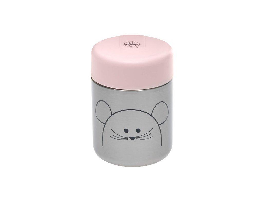Kvalitní dětská termonádoba na jídlo 315 ml z nerezové oceli LÄSSIG Little Chums Mouse v šedo-růžové barvě