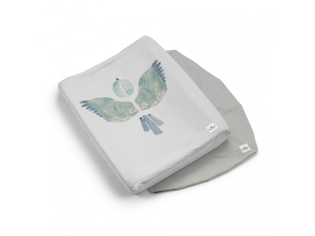 Kvalitní bavlněný povlak na přebalovací podložku Elodie Details - Watercolor Wings v šedé barvě