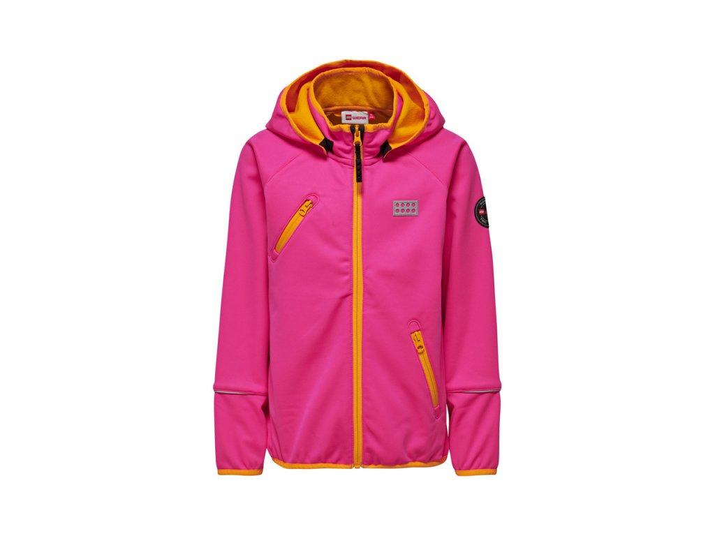 Kvalitní dětská zateplená jarní softshellová bunda s kapucí a reflexními prvky LEGO® Wear Siam v růžové barvě