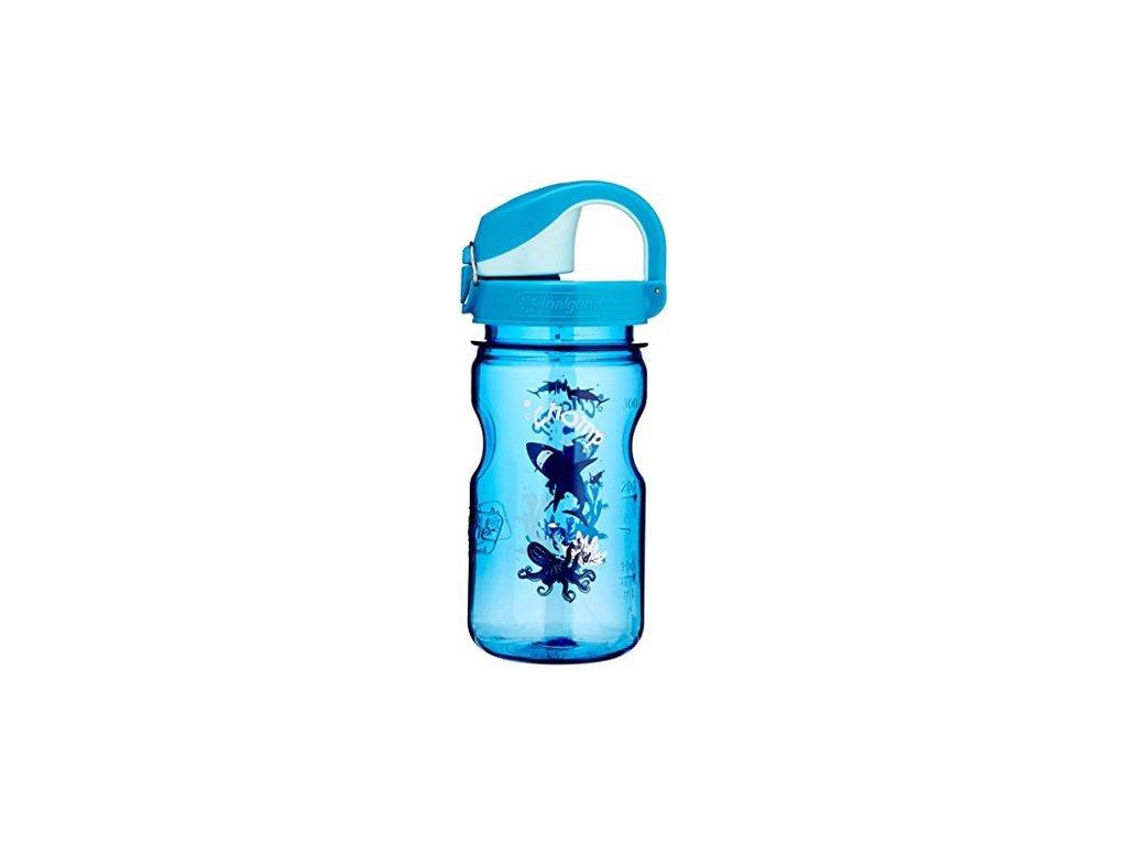 Kvalitní dětská plastová láhev bez BPA Nalgene OTF modrá - žraloci 350 ml