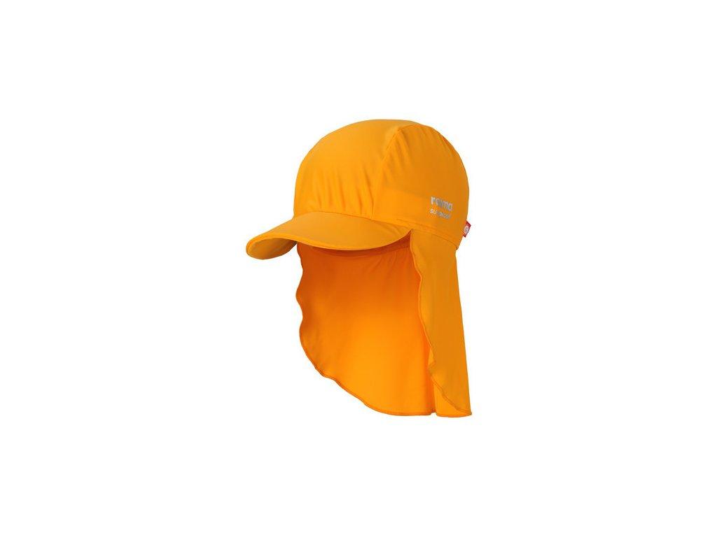 Kvalitní dětská lehká kšiltovka proti slunci s UV ochranou Reima Turtle Mango v oranžové barvě