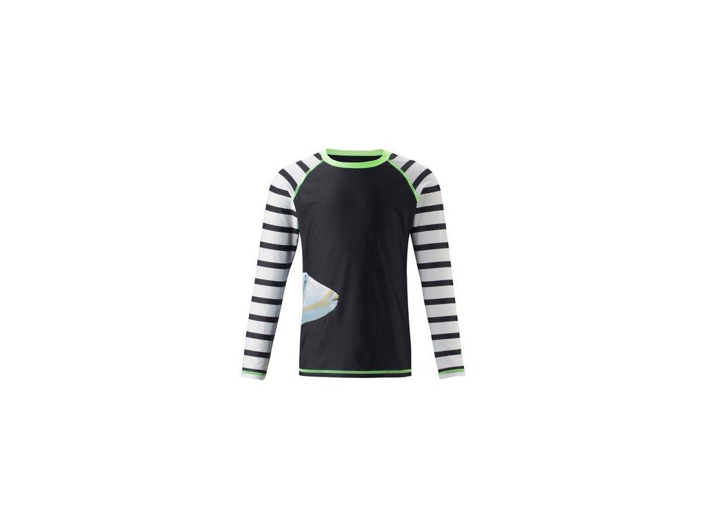 Kvalitní dětské plážové tričko s dlouhým rukávem a UV ochranou Reima Madagaskar Black v černé barvě