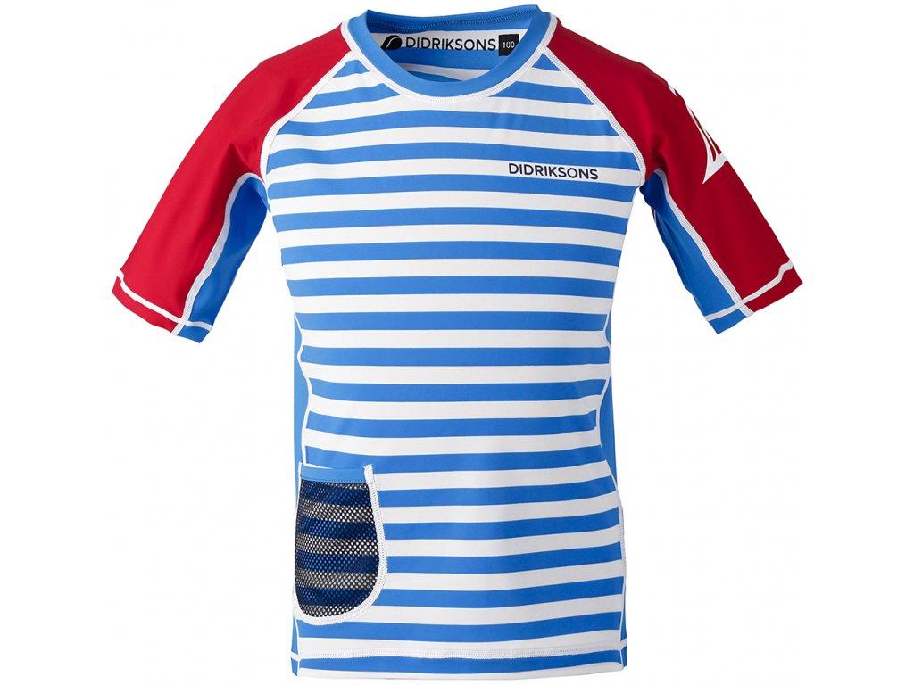 Kvalitní dětské tričko s krátkým rukávem a UV ochranou Didriksons Surf v modro-bílé barvě