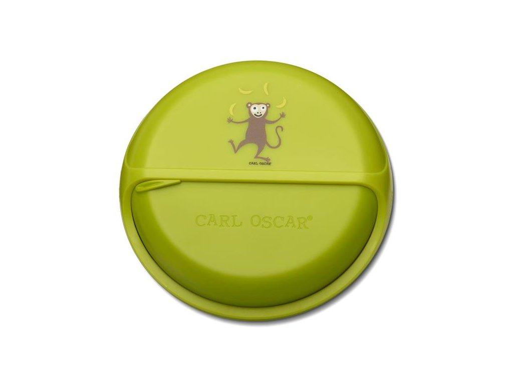 Kvalitní otáčecí krabička na svačinu SnackDisc ™ Carl Oscar® opice v zelené barvě
