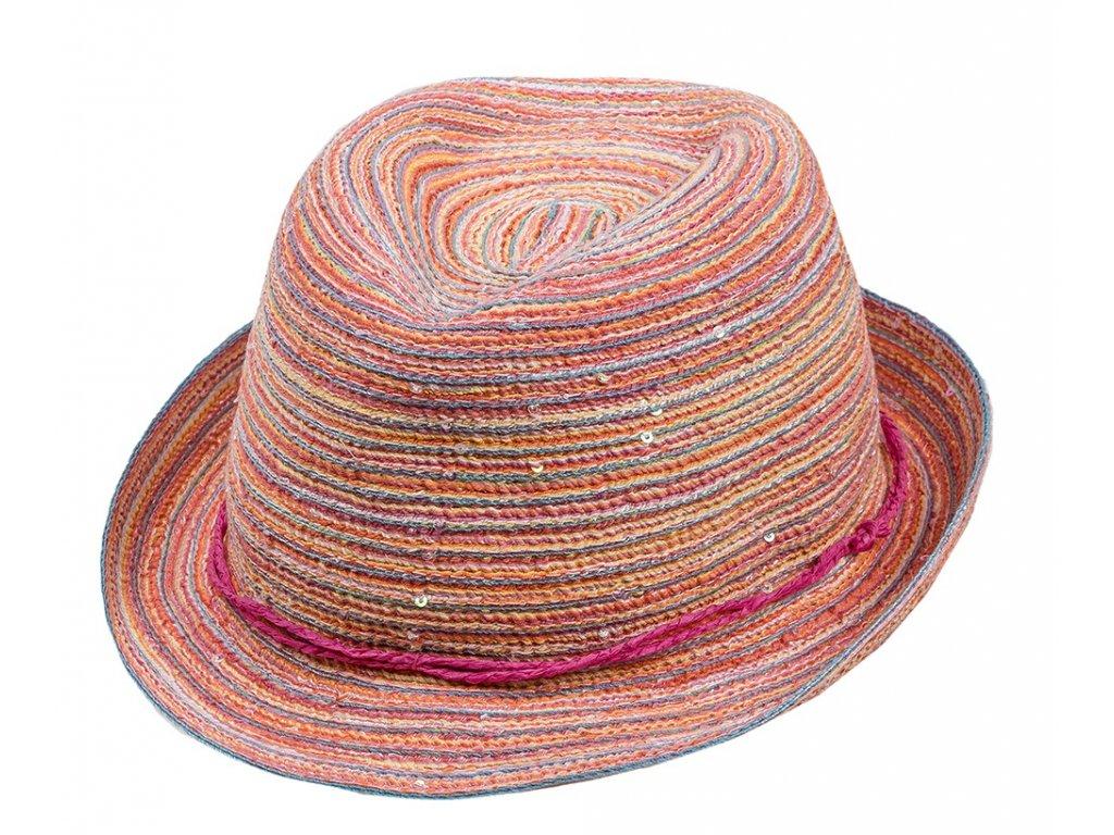 Kvalitní dívčí letní klobouk Maximo růžový s flitry