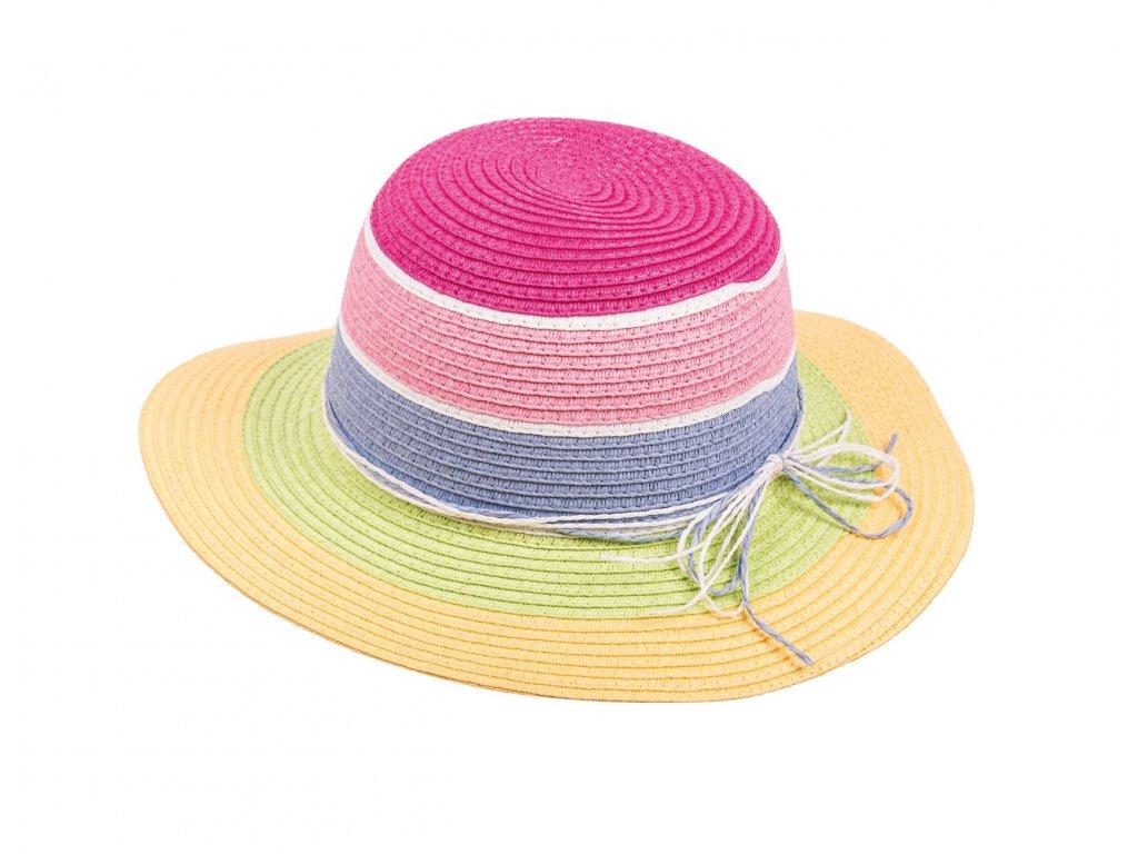 Kvalitní dívčí letní klobouk Maximo s barevnými pruhy
