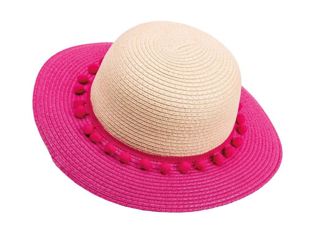 Kvalitní dívčí letní klobouk Maximo s bambulkami