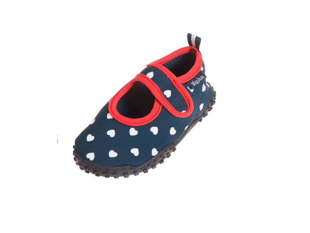 Kvalitní letní dívčí boty do vody Playshoes,modré se srdíčky.