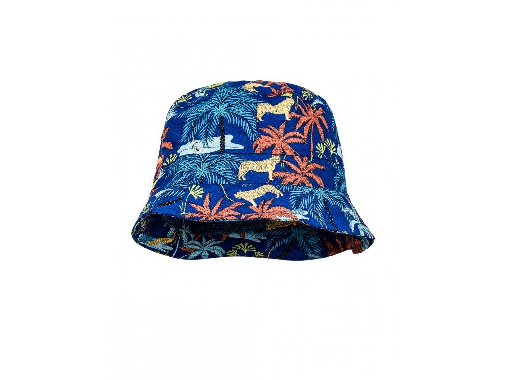 Kvalitní dětský bavlněný klobouček Maximo modrý - palmy