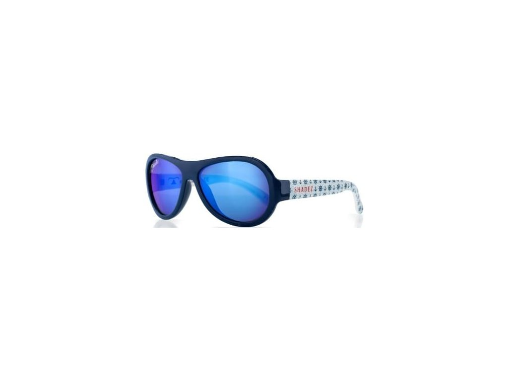 Kvalitní dětské sluneční brýle pro batolata s ochranou před UVA i UVB zářením a bez BPA Shadez Designers - Anchor Print Blue v modré barvě