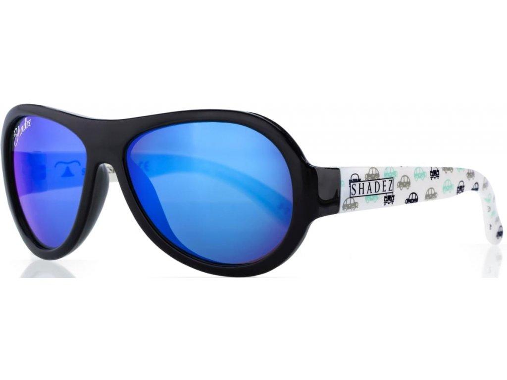 Kvalitní dětské sluneční brýle s ochranou před UVA i UVB zářením a bez BPA Shadez Designers - Car Print Black v černé barvě