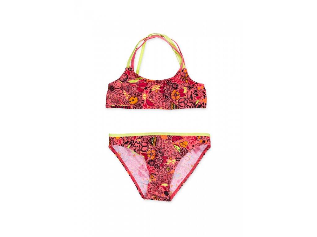 Kvalitní dívčí 2-dílné rychleschnoucí plavky Losan korálové-barevné motivy