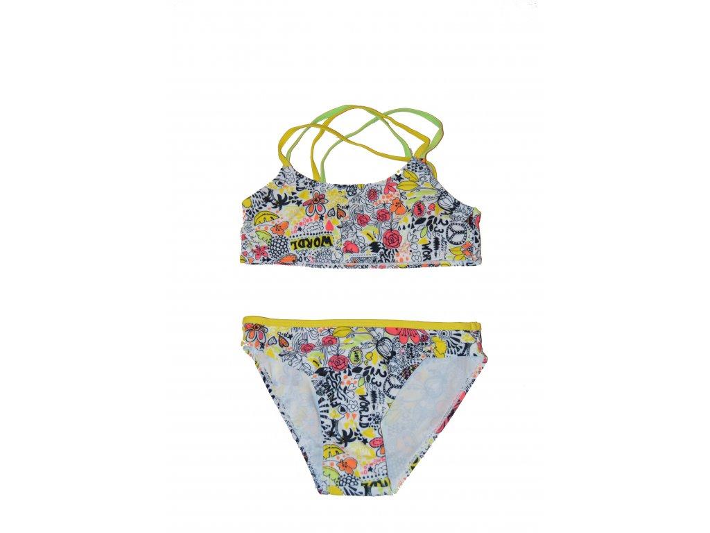 Dívčí 2-dílné plavky Losan bílé-barevné motivy